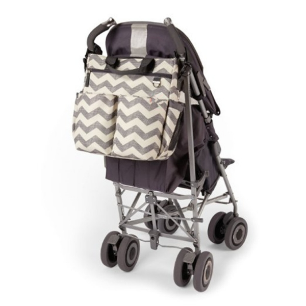 Stroller diaper bag with changing mat Chevron