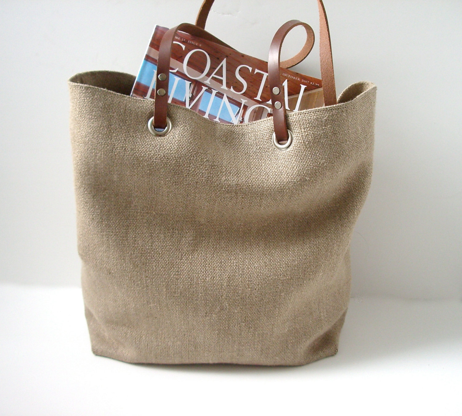 Linen beach bag with leather handle - Beach bag