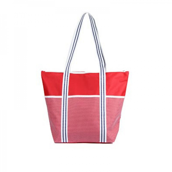 Polyester beach bag with zipper closure